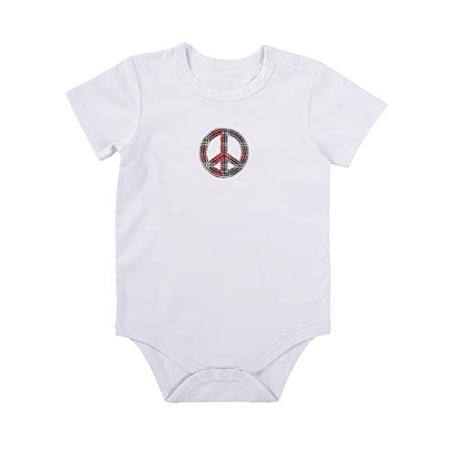 Stephan Baby Snapshirt-Style Diaper Cover, White with Plaid Peace Sign, 6-12 Months
