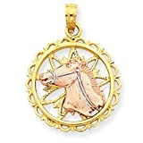 14k Gold Yellow & Rose Gold w/Rhodium Horse Head Circle Pendant