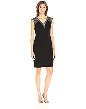Women's Cap Sleeve V-Neck Sheath Dress with Novelty Inserts in Bodice