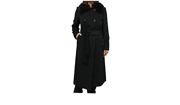 MARELLA mujeres abrigo negro 95% lana 5% Cachemira cuello en Fox en Plain TG 46: Amazon.es: Ropa y accesorios