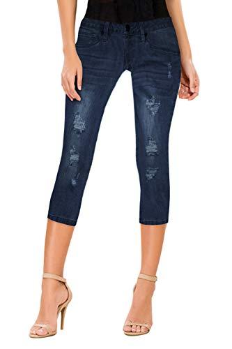 Women's Butt Lift Super Comfy Stretch Denim Capri Jeans Q37350 Darkwash 7 ()