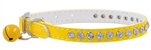 1Pc Lordly Popular Crystal Diamonds Pet Collar Neck Strap Cat Assorted Decoration Color Yellow
