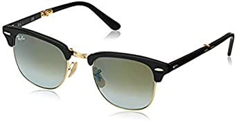 Ray-Ban Clubmaster Folding RB2176 Sunglasses Matte Black / Green Flash Gradient 51mm & Cleaning Kit Bundle