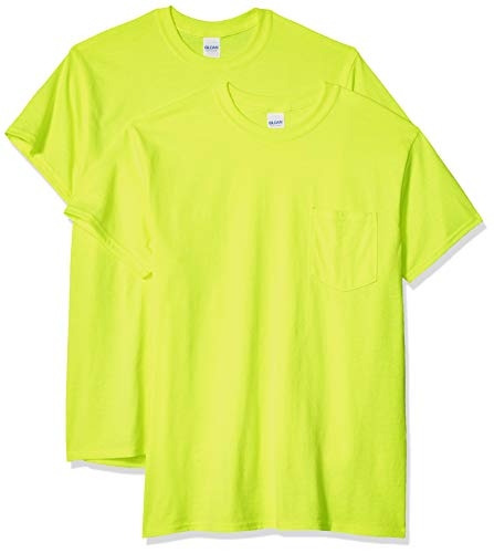 Gildan Men's Ultra Cotton Adult T-Shirt with Pocket, 2-Pack, Safety Green, X-Large