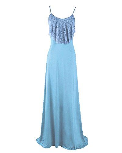 Maxi Vestido Mujer Elegante Vestido Camiseta Largo Sin Mangas Vestido de Noche Azul
