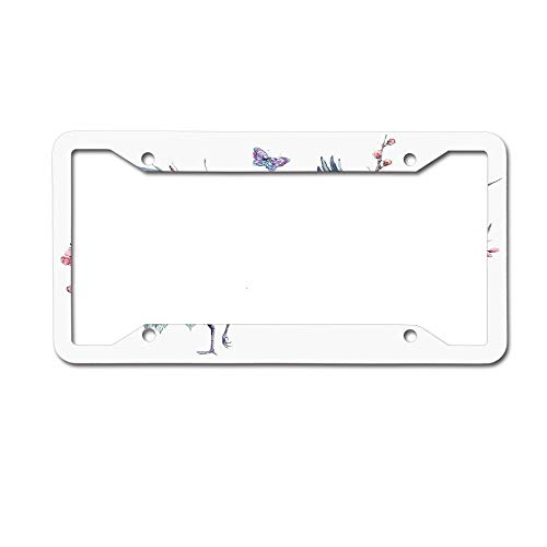 (PoppyAnthony Flying Sarus Crane Birds Over Cherry Blossom Sakura Tree Watercolor Illustration Licence Plate Frame Aluminum License Plate Cover for US Canada 4 Hole and)