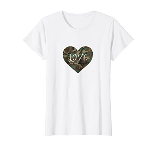 T-shirt Camo White Heart - Womens I Love You American Soldier Troops Camo Heart Emoticon Shirt Large White