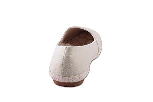 Ballerinas Slip On Sneaker mit Bastfront und Bastumrandung Cream