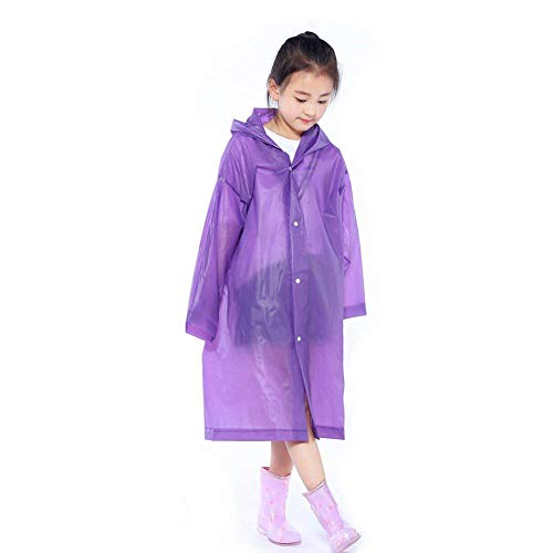 (Walsilk 2Pack Emergency Rain Ponchos for Kids,Waterproof Child Raincoats with Hood and Sleeves,Portable & Lightweight (2Purple))