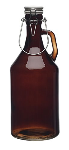 Authentic Glass Growler for Beer 1/2 Gallon (64oz) with Hermetic Seal Ceramic Lid