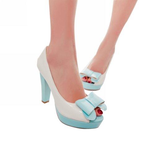 Charme Pied Mode Arcs Femmes Plateforme Haut Talon Peep Toe Pompes Chaussures Bleu