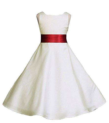 - Wedding Pageant Ivory A-Line Matte Satin Jr. Bridesmaid Flower Girl Dress