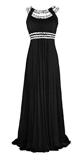 Licoco Women Sleeveless Beaded Semi-Formal Long Maxi Evening Gown Wedding Dress (Black 70, Small) ()
