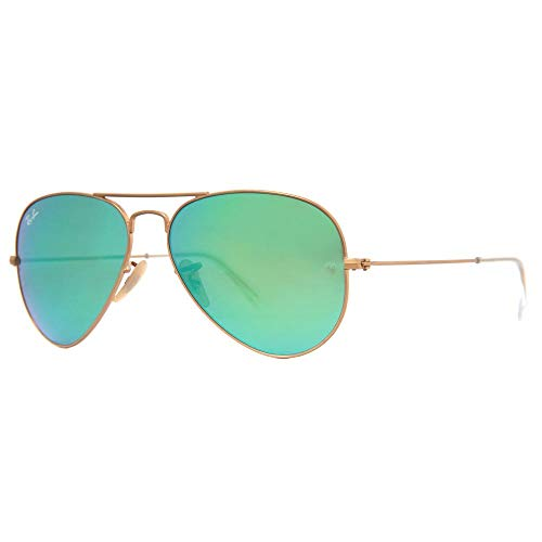 - New Authentic Ray-Ban Aviator 3025 112/19 62mm Matte Gold/Green Mirror Lens