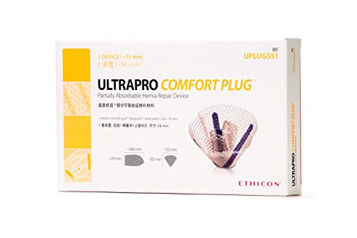 Ethicon ULTRAPRO Comfort Plug Partially Absorbable Hernia Repair Device, UPLUG551, 55 mm Plug with 2.75