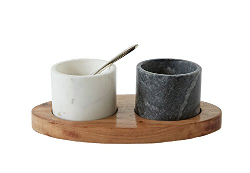Creative Co-Op 2 Marble Bowls on Mango Wood Base with Salt ()