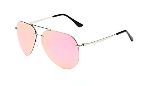 Unisex A350 Rimless Alloy Metal Frame Double Bridge Aviator Polarized Sunglasses (C5-silver+pink, - D&g Rimless Glasses
