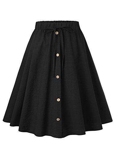 Button Elastic Waist (BaiShengGT Korean Skirt, Women's A-Line High Waisted Button Front Pleated Midi Skirt with Elastic Waist Knee Length One Size(fit S-M) Solid Black-False Drawstring)