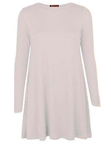 Femmes Uni Jersey Manches Longues Swing Évasé Extensible Court Mini Robe -tailles 8-26 - Blanc cassé, S/M - 36/38