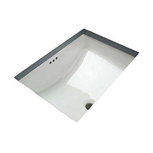 (White Rectangular Bathroom Undercounter Sink 18-3/4