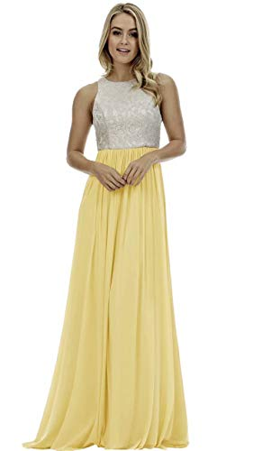 Lace Bridesmaid Dresses Long a-line Chiffon Evening Gown Wedding Party Womens 2019 Yellow 2