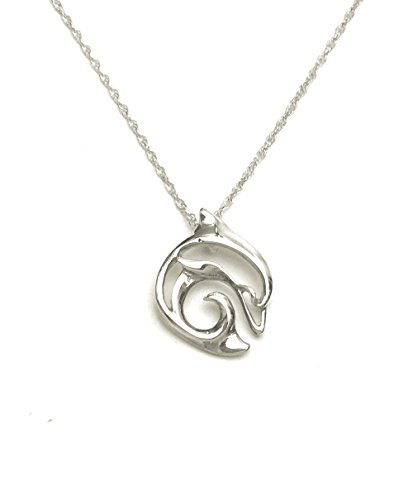 "Aquatic Mini Big Blue Silver Pendant ON 18"" Rope Chain Necklace (Dolphin)"