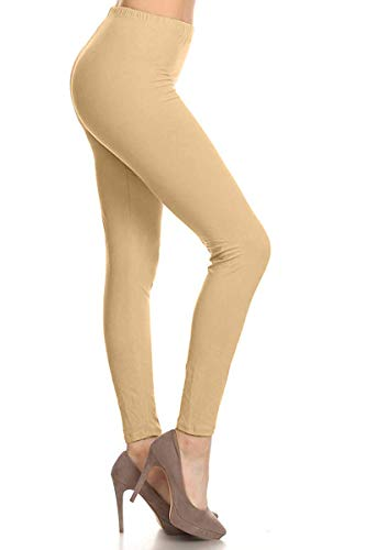 LDR128-Khaki Basic Solid Leggings, One Size -