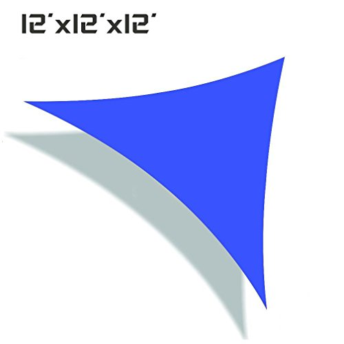 UNICOOL Deluxe Triangle 12 x 12 x 12 Sun Shade Sail UV Block Canopy Outdoor Patio Top Cover Blue