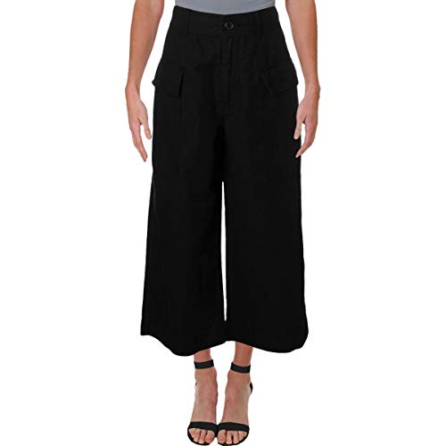 (Polo Ralph Lauren Womens Linen Cropped Cargo Pants Black 4)