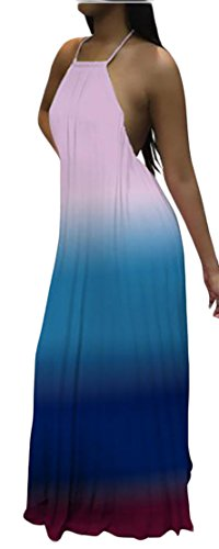 Dresses Backless Long Ombre Swing Cromoncent Halter Pleated Bandage Pink Women's xfn8wqB4qR