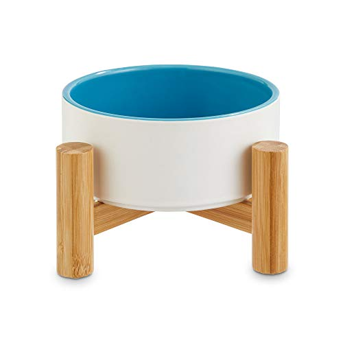 Reddy White Ceramic & Bamboo Elevated Pet Bowl, 3.5 Cups, ()