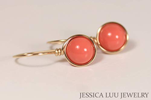 (Gold Orange Coral Earrings with Swarovski Pearls Yellow or Rose Gold Filled)