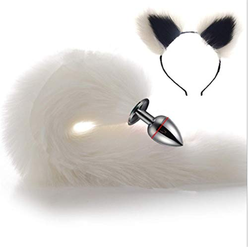 Make life wonderful White Three Sizes Fluffy Faux Fox Tail & Cat Ears Headband Charms Role Play Costume Party Masquerade Cosplay Prop (White & Black, L) -