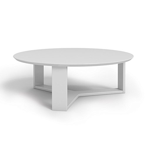 35 78 Inch Round White Gloss Made With Mdf Material Glossy Finish Contemporary And Modern Style Accent Coffee Table