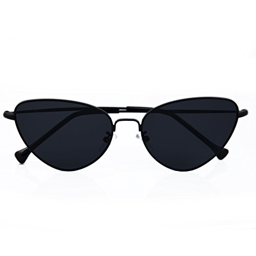 Alondra Kolt Cat Eye Vibes Metal Frame Sunglasses (Black, - Cat Thin Eye