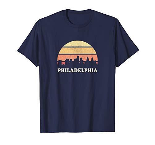 Philadelphia PA T Shirt Vintage Sunset Skyline Retro Tee