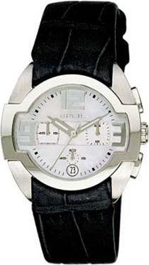 Breil ladies black leather & mother of pearl dial watch