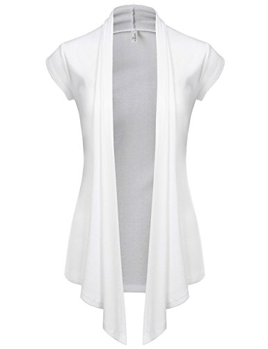 (NEARKIN (NKNKWCD693S) Women Open Front Slim Cut Look Short Sleeve Daily Casual Cardigans WHITE US S(Tag size M))