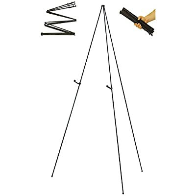 "US Art Supply ""Easy-Folding Easel"" Black Steel 63"" Tall Display Easel from US Art Supply"
