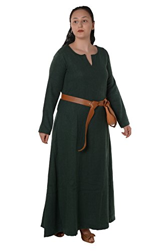 Wilma Medieval Viking Wool Dress by Calvina Costumes - Made in Turkey, Green, X-Large