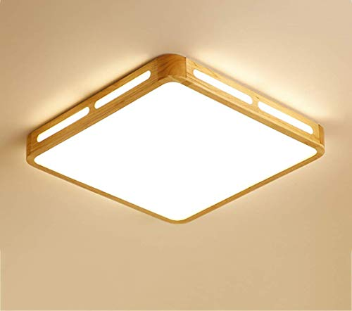 ZY Plafonnier en bois nordique minimaliste LED voitureré salon étude chambre balcon éclairage 6 cm d'épaisseur