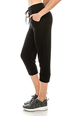 Poplooks Women's Lightweight Active Yoga Lounge Jogger Capri Sweat Pants with Pockets