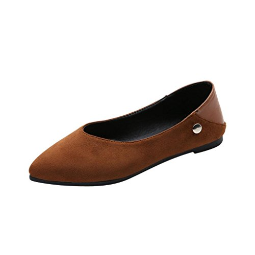Transer Removable Plush Decor Ladies Leisure Flats Shoes, Women Slip On Comfy Casual Work Loafers Lazy Shoes Brown