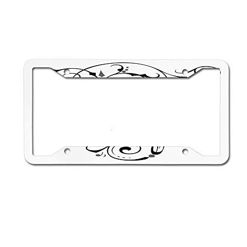 (Capitalized E Alphabet Geometrical Design Lines Swirls Dark Metal License Plate Frame for Women/Men, Aluminum Auto Truck Car 2 Holes and Screws)