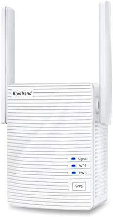BrosTrend 1200Mbps WiFi Range Extender Signal Booster Repeater, Add Coverage as much as 1200 squareft. in Your House, Extend 2.4GHz & 5GHz Wi-Fi, Easy Setup