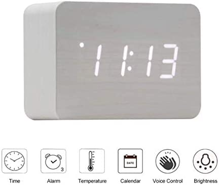 OFLILAK Wooden Digital Alarm Clock for Bedrooms, 4 Level Adjustable Brightness and Voice Control, Display Time Temperature Date for Bedroom Office Home White
