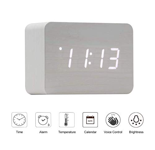 OFLILAK Wooden Digital Alarm Clock for Bedrooms, 4 Level Adjustable Brightness and Voice Control, Display Time Temperature Date for Bedroom Office Home(White)