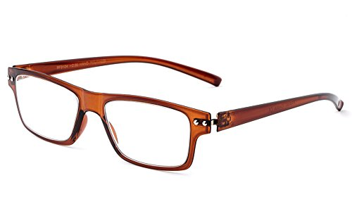 Newbee Fashion - Ultra Light Weight Spring Temple Fashion Clear Lens Glasses Brown