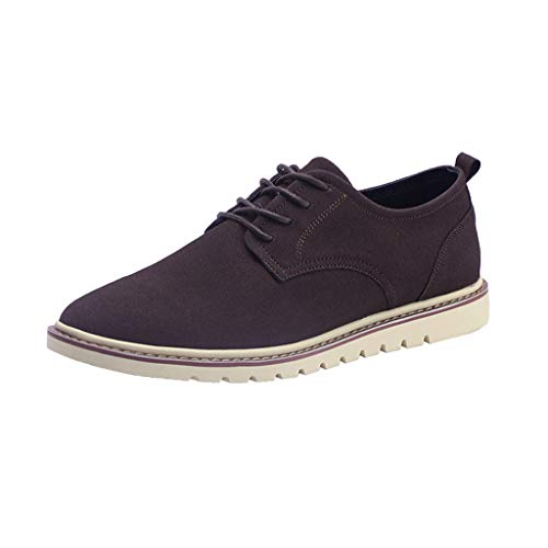 【MOHOLL】 Men's Vintage Suede Shoes Oxford Lightweight Breathable Walking Shoes Fashion Casual Shoes Brown