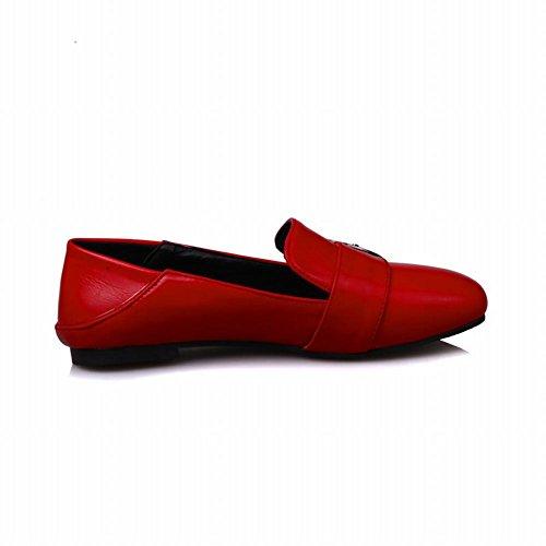 Carolbar Mujeres Hebilla Square Toe Retro Comfort Casual Pisos Zapatos Rojo